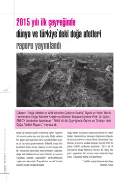 2015 yılı ilk çeyreğinde dünya ve türkiye`deki doğa afetleri raporu