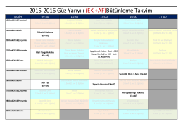 2015-2016 Güz Yarıyılı (EK +AF)Bütünleme Takvimi
