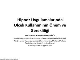 Halime Pınar Demiröz Hipnoz Uygulamalarında Ölçek