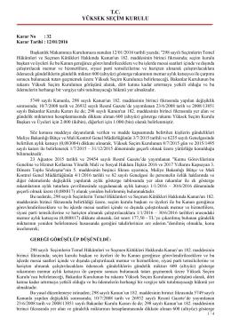 T.C. YÜKSEK SEÇİM KURULU - Yüksek Seçim Kurulu Başkanlığı