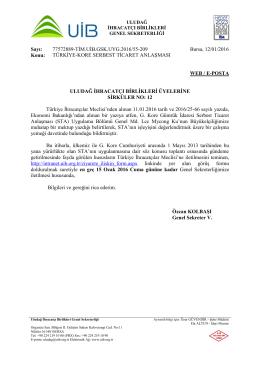 TÜRKİYE-KORE SERBEST TİCARET