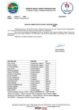 16-17 Ocak 2016 - Türkiye Masa Tenisi Federasyonu