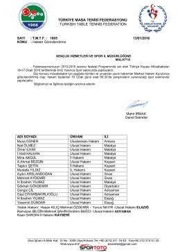 ( D) Grubu MALATYA - Türkiye Masa Tenisi Federasyonu