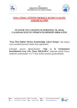 foça özel eğitim merkez komutanlığı askeri kampı