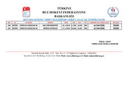2015-2016 sezonu tbhf liglerinde görev alacak temsilciler türkiye