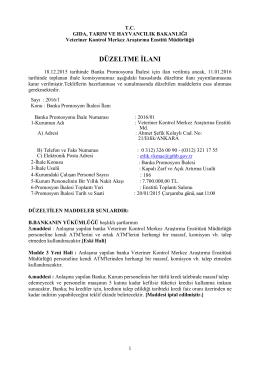 ihale ilanı - Veteriner Kontrol Enstitüsü Müdürlükleri