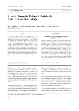 Kronik ‹diyopatik Ürtikerli Hastalarda Anti-HCV