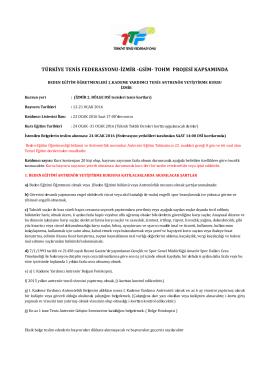 başvuru ve katılım şartları - Türkiye Tenis Federasyonu