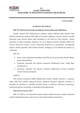 BDS 701 Kilit Denetim Konularının Bağımsız Denetçi Raporunda