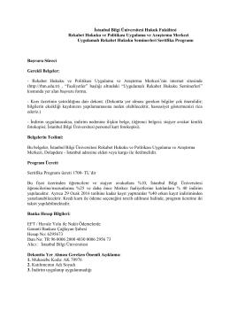 İstanbul Bilgi Üniversitesi Hukuk Fakültesi Rekabet Hukuku ve