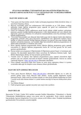 2015-2016 Bahar Kurum İçi Yatay Geçiş Başvuru Koşulları ve