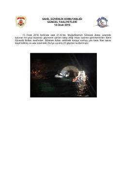 13 Ocak 2016 - Sahil Güvenlik Komutanlığı