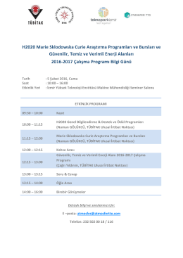 H2020 Marie Sklodowska Curie Araştırma Programları ve Bursları