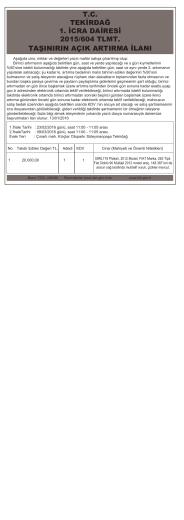 T.C. TEKİRDAĞ 1. İCRA DAİRESİ 2015/604 TLMT. TAŞINIRIN AÇIK