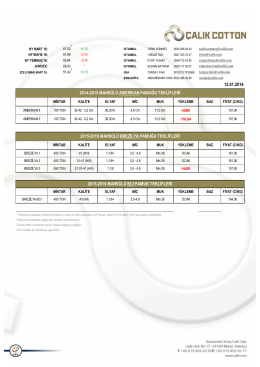 12.01.2016 2014-2015 mahsülü amerikan pamuğu teklifleri 2015