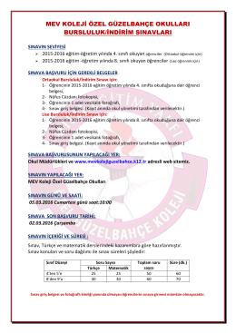 mev koleji özel güzelbahçe okulları bursluluk/indirim sınavları