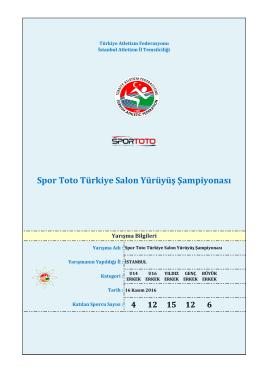 Erkekler Yürüyüş Sonuçlar - Türkiye Atletizm Federasyonu