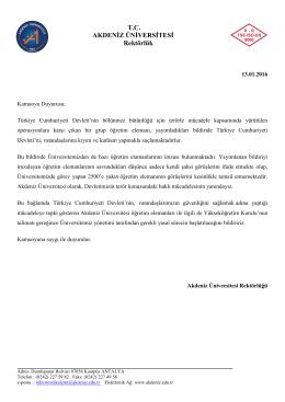 Akdeniz Üniversitesi`nden Kamuoyu Açıklaması