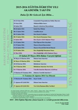 2015-2016 Bahar Yarıyılı Akademik Takvim