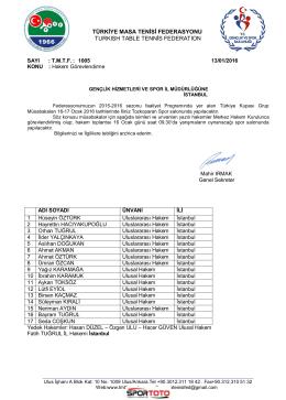 16-17 Ocak 2016 ( A ) Grubu İSTANBUL