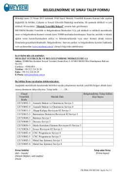 belgelendirme ve sınav talep formu