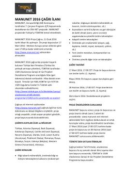MANUNETII İmalat Teknolojileri Ar-Ge Projeleri 2016 Yılı