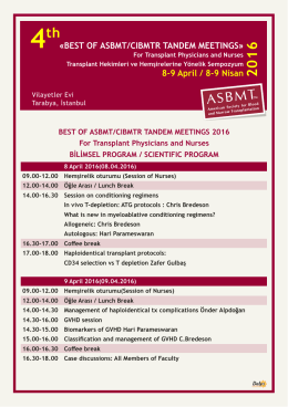 «BEST OF ASBMT/CIBMTR TANDEM MEETINGS» 8-9 April / 8