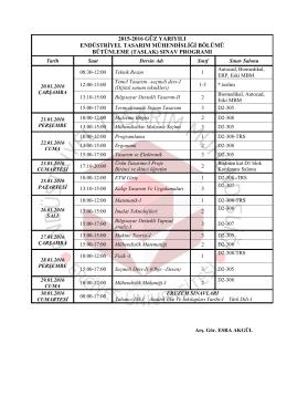 (taslak) sınav programı - Endüstriyel Tasarım Mühendisliği Bölümü