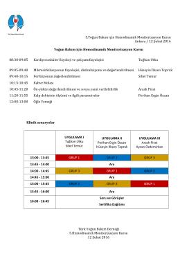 5.Yoğun Bakım için Hemodinamik Monitorizasyon Kursu Ankara / 12