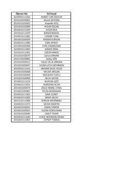 Öğrenci No. Ad Soyad 2014010111056 AHMET CAN ÖZÇELIK
