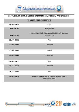 12 Mart 2016 Sempozyum Programı