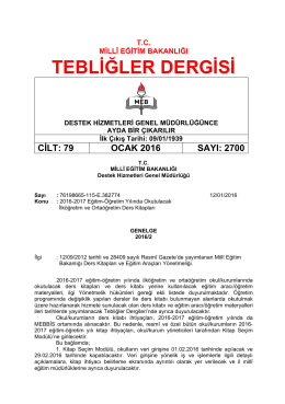 TEBLİĞLER DERGİSİ - Milli Eğitim Bakanlığı