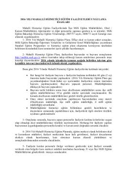 2011 yılı mahalli hizmetiçi eğitim faaliyetleri uygulama