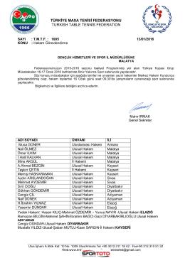 türkiye masa tenisi federasyonu turkısh table tennis federatıon