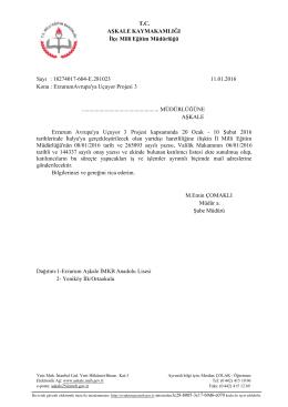 Erzurum Avrupa´ya Uçuyor Projesi 3 11.01.2016 10:28