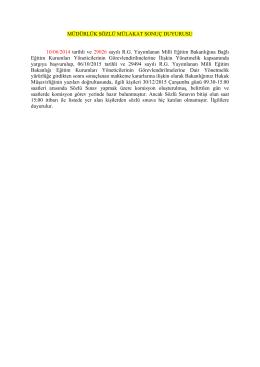MÜDÜRLÜK SÖZLÜ MÜLAKAT SONUÇ DUYURUSU 10/06/2014
