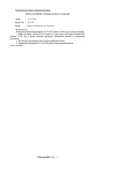 Özelleştirme Yüksek Kurulunun 31/12/2015 Tarihli