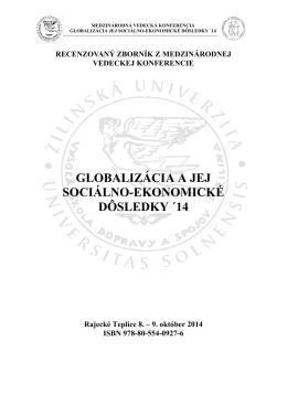 globalizácia a jej sociálno-ekonomické dôsledky