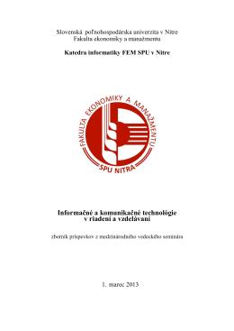 Zborník - Eunis.SK - Slovenská poľnohospodárska univerzita v Nitre