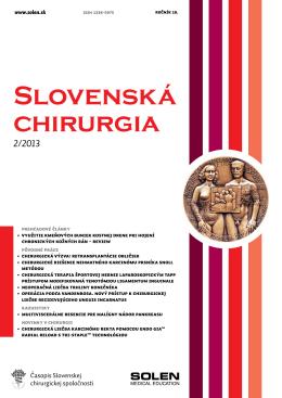 Slovenská chirurgia 2/2013 - Slovenská Chirurgická Spoločnosť