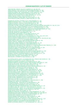 ZOZNAM MAJITEĽOV / LIST OF OWNERS