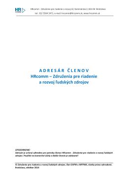 ADRES Á R Č LENOV HRcomm – Združenia pre riadenie a rozvoj