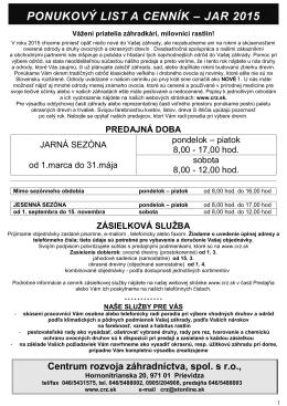 Ovocné dreviny JAR 2015 - Centrum rozvoja záhradníctva, spol. s ro