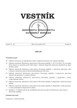 Vestník MZ SR 2010, 32-60 - Ministerstvo zdravotníctva SR