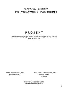 Projekt - Certifikačný študijný program v certifikovanej pracovnej