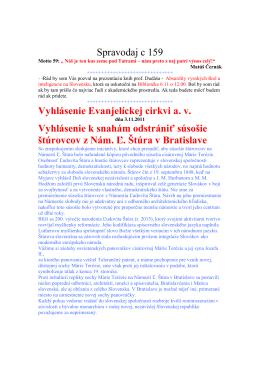 Spravodaj c 159 Vyhlásenie Evanjelíckej cirkvi a. v. Vyhlásenie k