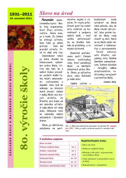 Bulletin - 80 výročie školy - ZŠ s MŠ Ružindol