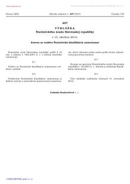 407/2010 Vyhláška Štatistického úradu Slovenskej republiky