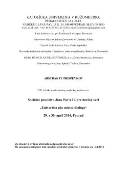 Zborník abstraktov - Konferencie - Katolícka univerzita v Ružomberku