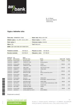 výpis z účtu - červen 2014